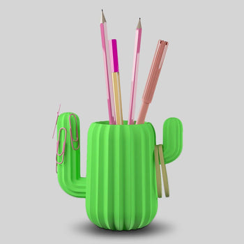Mustard Cactus Desk Pencil Pot