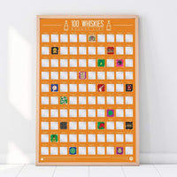 Scratch Off Bucket List Poster 100 Whiskies