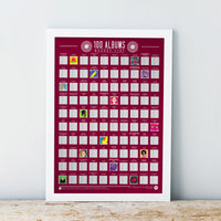 Scratch Off Bucket List Poster 100 Albums