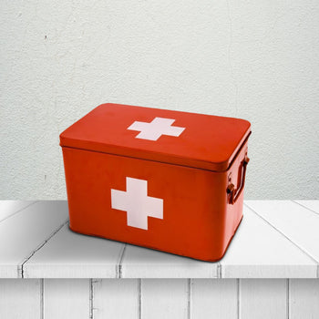 Medicine Large Storage Box Metal Red