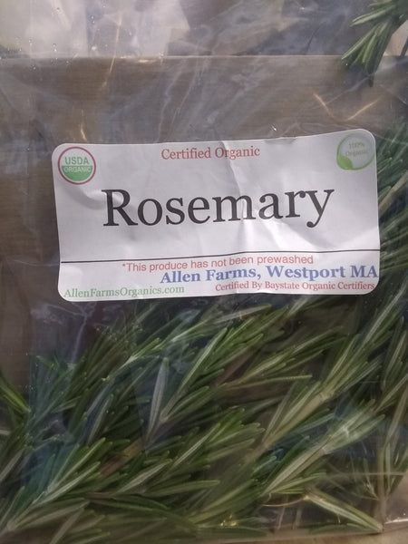 Rosemary, organic fresh, bagged on farm.