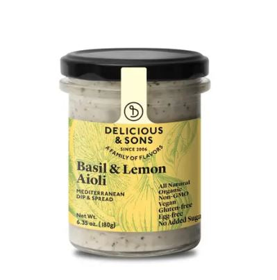 Basil & Lemon Aioli, Delicious & Sons, certified organic, 6.35 oz/180g.