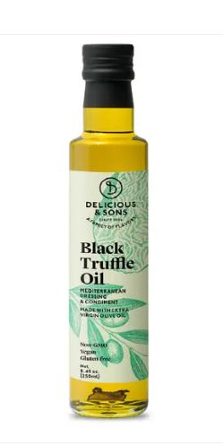 Oil, Black Truffle,  Delicious & Sons, certified organic, 8.45 fl. oz./250 ml.
