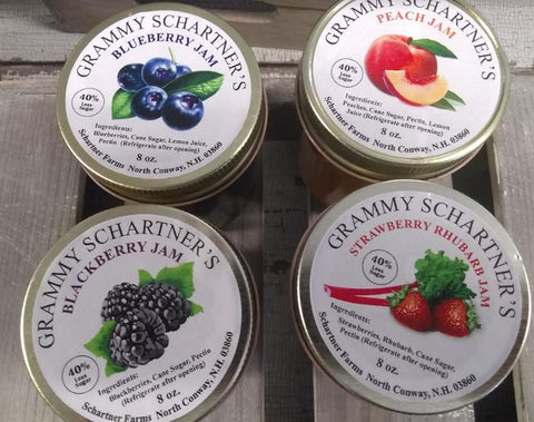 Jam, Grammy Schartner's  local 4-flavors 8 oz.