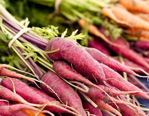 Carrots with tops, purple, Certified Organic