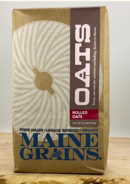 Oats, rolled or cracked, organic Maine Grains, 1.75# & 4#