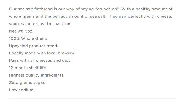 Crackers, Brewer's Flatbread - Sea Salt or Everything, 5 oz.