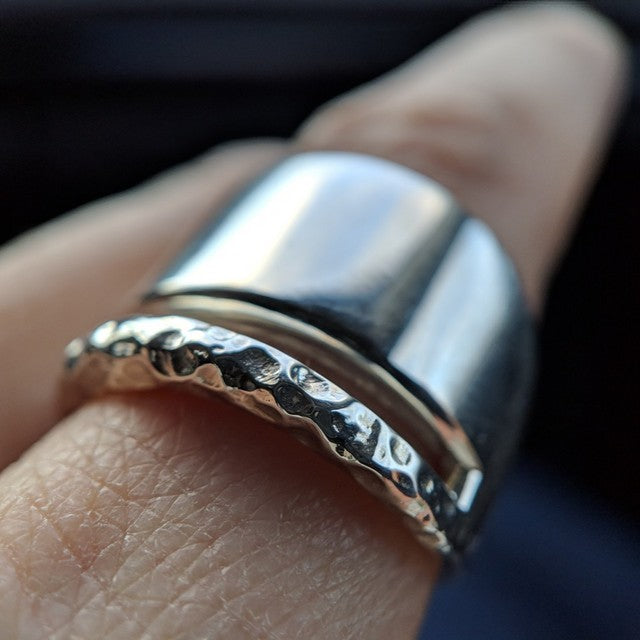 An ULTRA Close-up of the Hammered Silver Transit Ring