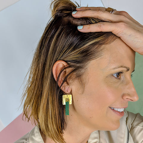 Navona Handmade - Bold Point Earrings in Green