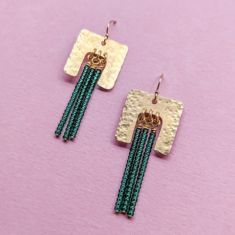 Navona Handmade - Bold Point Earrings in Hammered Brass and Green Glass Beads