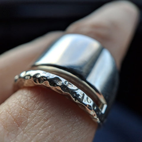 Navona Handmade - Transit Ring in Hammered Sterling Silver