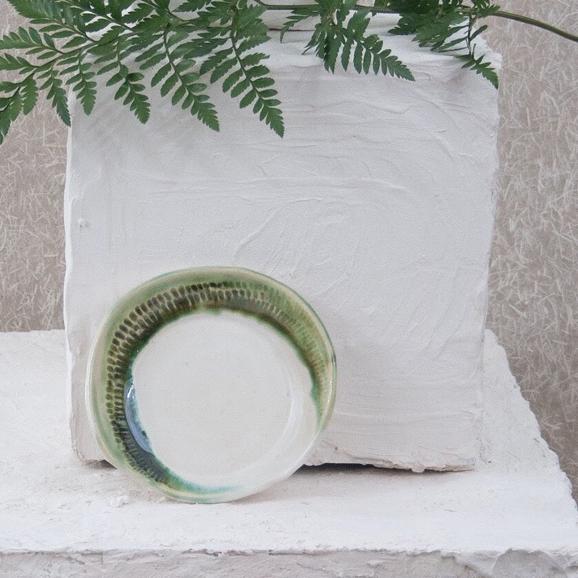 green and white ring dish