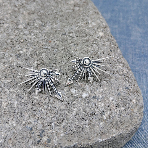 Sylvia Starburst Silver Stud Earrings
