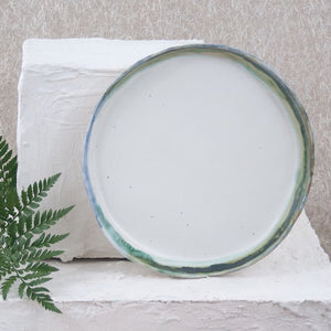 9 inch white, blue and green handmade plate
