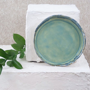 teal ceramic round tray