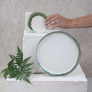 handmade green and matte white ceramic plates