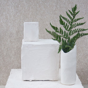 organic shaped white vase
