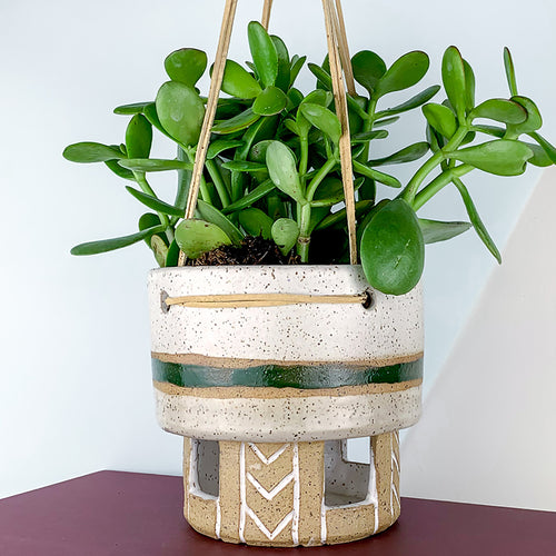 ceramic planter with leather hanger