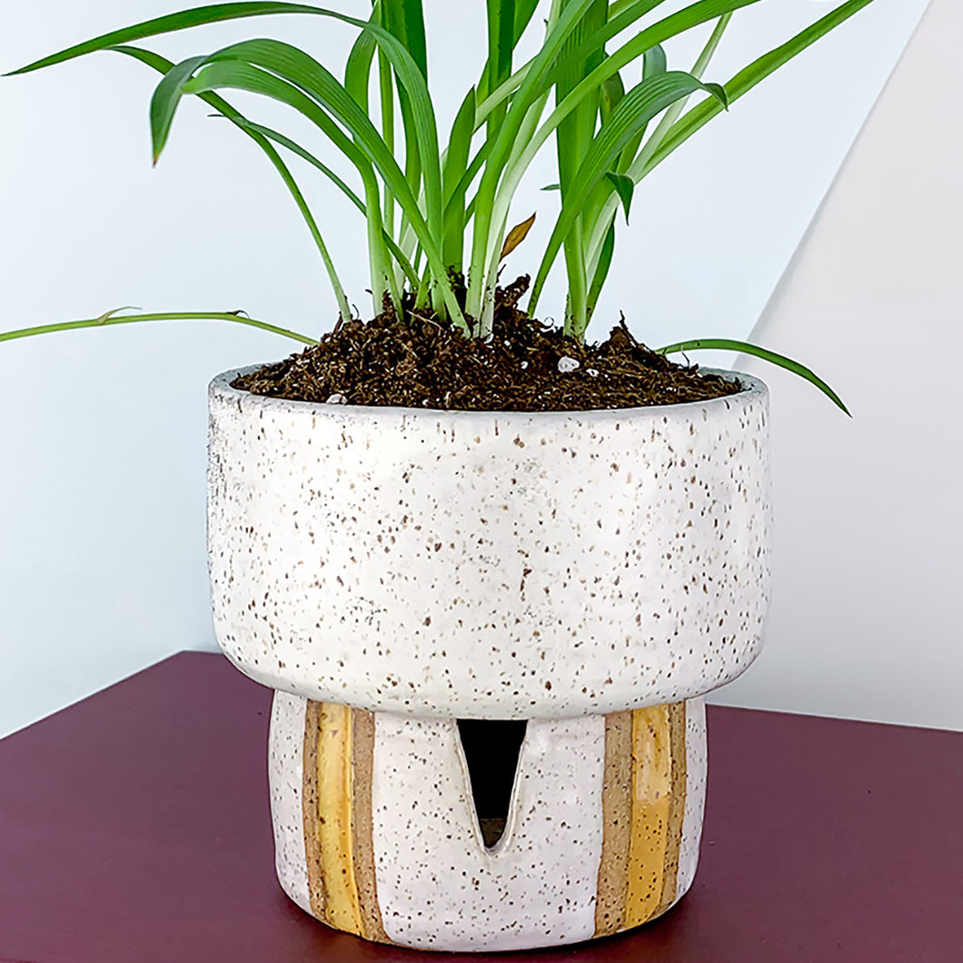 speckled ceramic flower pot