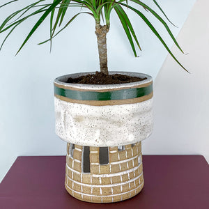matte white and green planter
