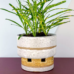 handmade yellow and white flower pot