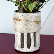Load image into Gallery viewer, white speckled indoor flower pot
