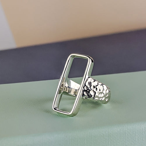 Zone Sterling Silver Wide Hammered Rectangle Ring
