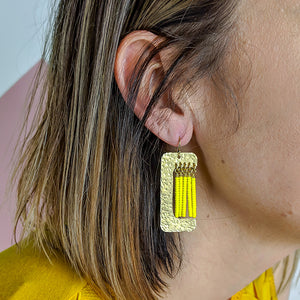 Witherby Brass and Bead Asymmetrical Fringe Earrings - Yellow