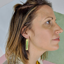 Load image into Gallery viewer, Upton Brass and Bead Skinny Earrings - Green