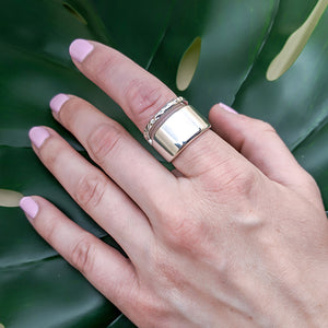 Transit Sterling Silver Wide Hammered Minimal Ring