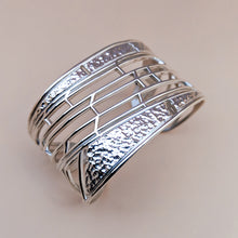 Load image into Gallery viewer, Arcade Sterling Silver Architectural Cuff Bracelet