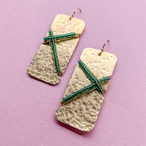 Manning Brass and Bead Earrings - Green