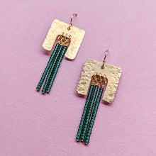 Load image into Gallery viewer, Bold Point Brass and Bead Fringe Earrings - Green
