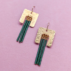 Bold Point Brass and Bead Fringe Earrings - Green