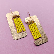 Load image into Gallery viewer, Witherby Brass and Bead Asymmetrical Fringe Earrings - Yellow