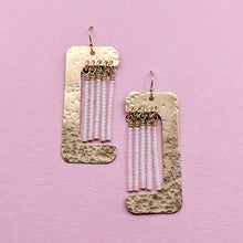 Load image into Gallery viewer, Witherby Brass and Bead Asymmetrical Fringe Earrings - White