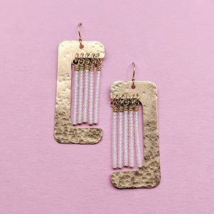 Witherby Brass and Bead Asymmetrical Fringe Earrings - White