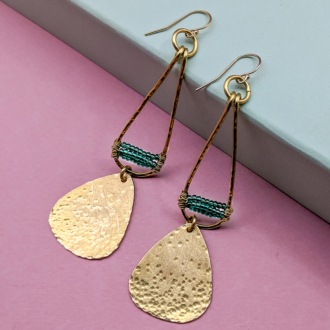 Seekonk Brass and Bead Teardrop Earrings - Green