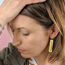 Load image into Gallery viewer, Upton Brass and Bead Skinny Earrings - Yellow