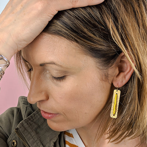 Upton Brass and Bead Skinny Earrings - Yellow