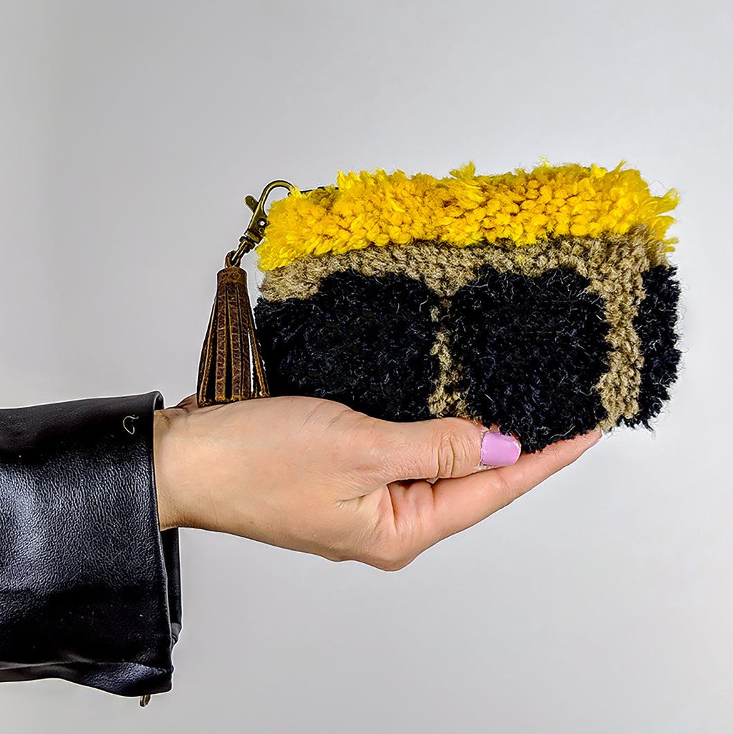 Fuzzy Coin Purse with leather tassel