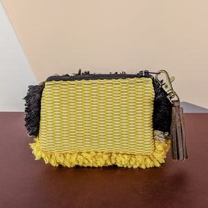 Coin Purse Back View Yellow Woven Back