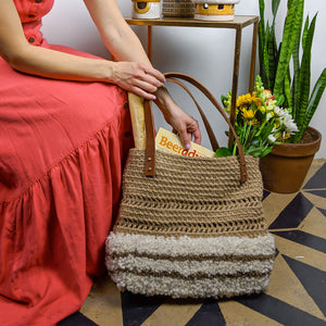 Large tote handbag handmade with crocheted jute, reclaimed leather, and alpaca yarn