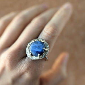 Kyanite Halo Ring