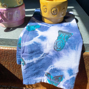 Art Garden Tea Towel - Aqua