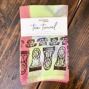 Art Garden Tea Towel - Yellow and Aqua (Set Of Two)