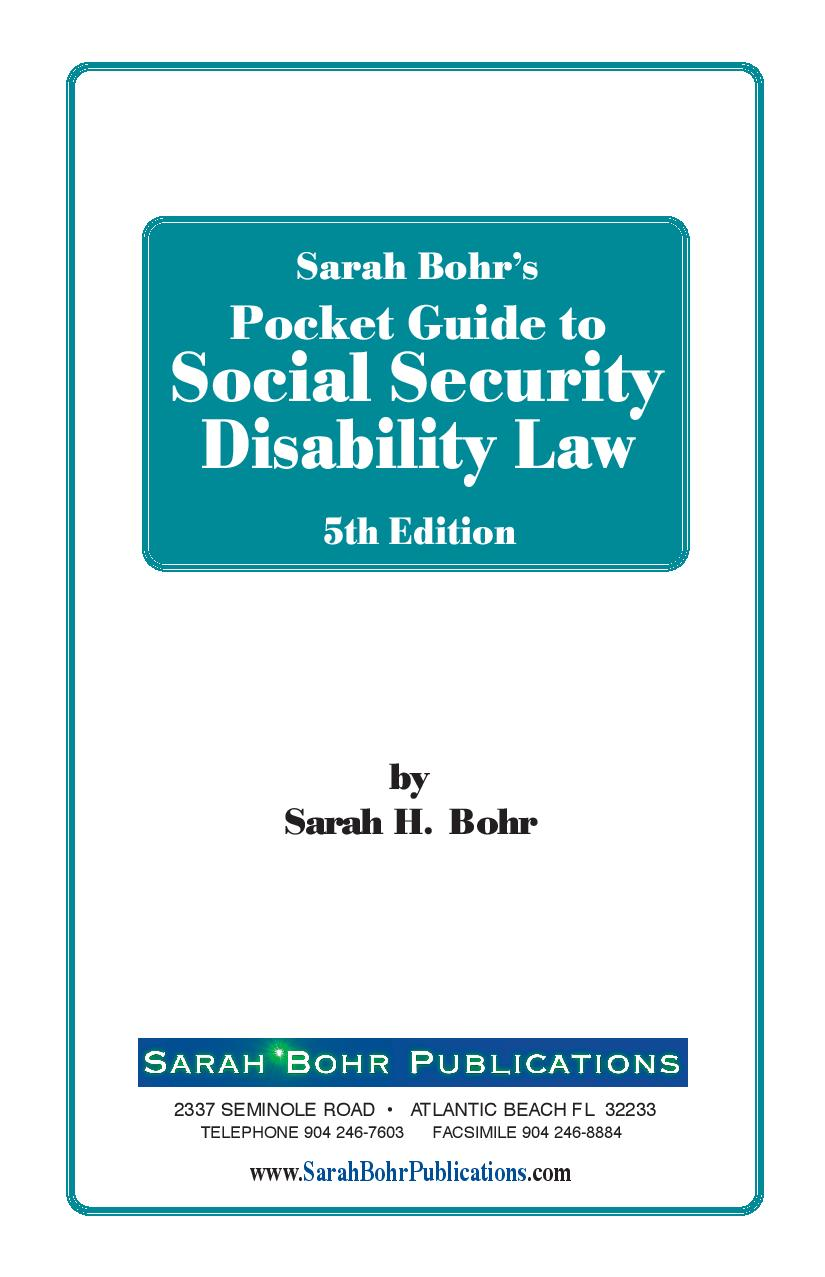 Pocket Guide to Social Security Disability Law 5th Edition (Digital Download)