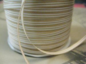 "Green Way 3/16"" Kraft Brown & White Stripe Curling Ribbon 