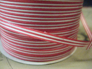 "Green Way 3/16"" Red & White Stripe Curling Ribbon 