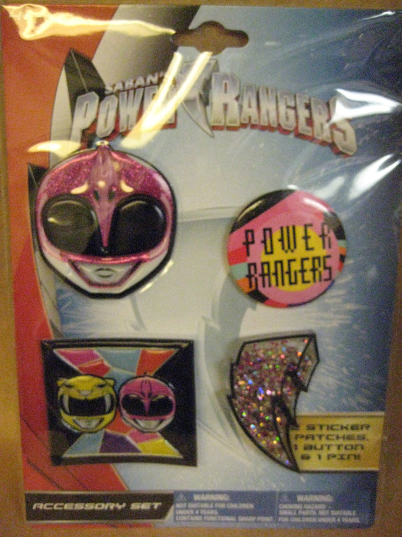 Girl's Power Rangers Pink Accessory Set | 4 Pc. Sticker, Patch, Button